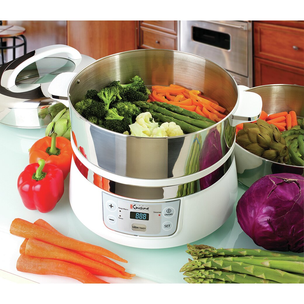 Stainless Steel Electric Vegetable Steamer ~ Euro cuisine qt stainless steel tier electric food