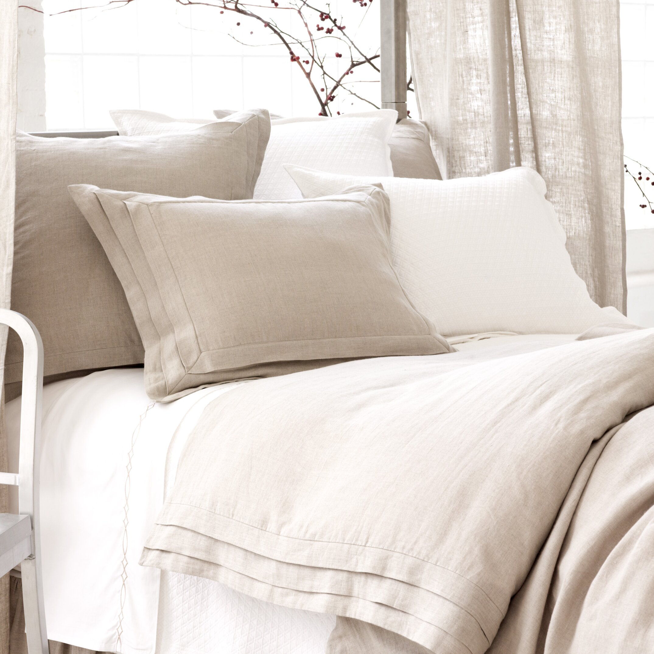 pine cone hill natural pleated linen duvet cover. Black Bedroom Furniture Sets. Home Design Ideas