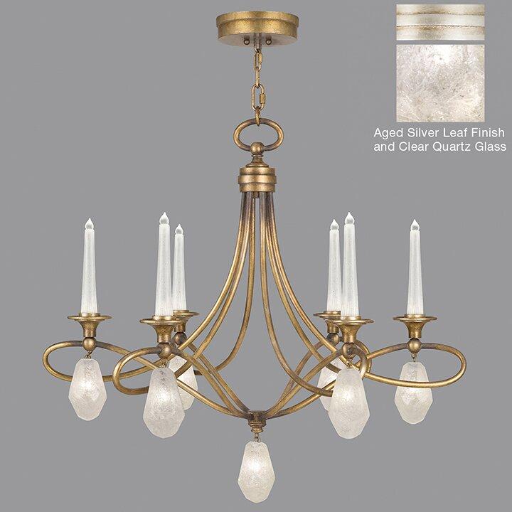Fine Art Lamps Quartz And Iron 6 Light Candle Chandelier