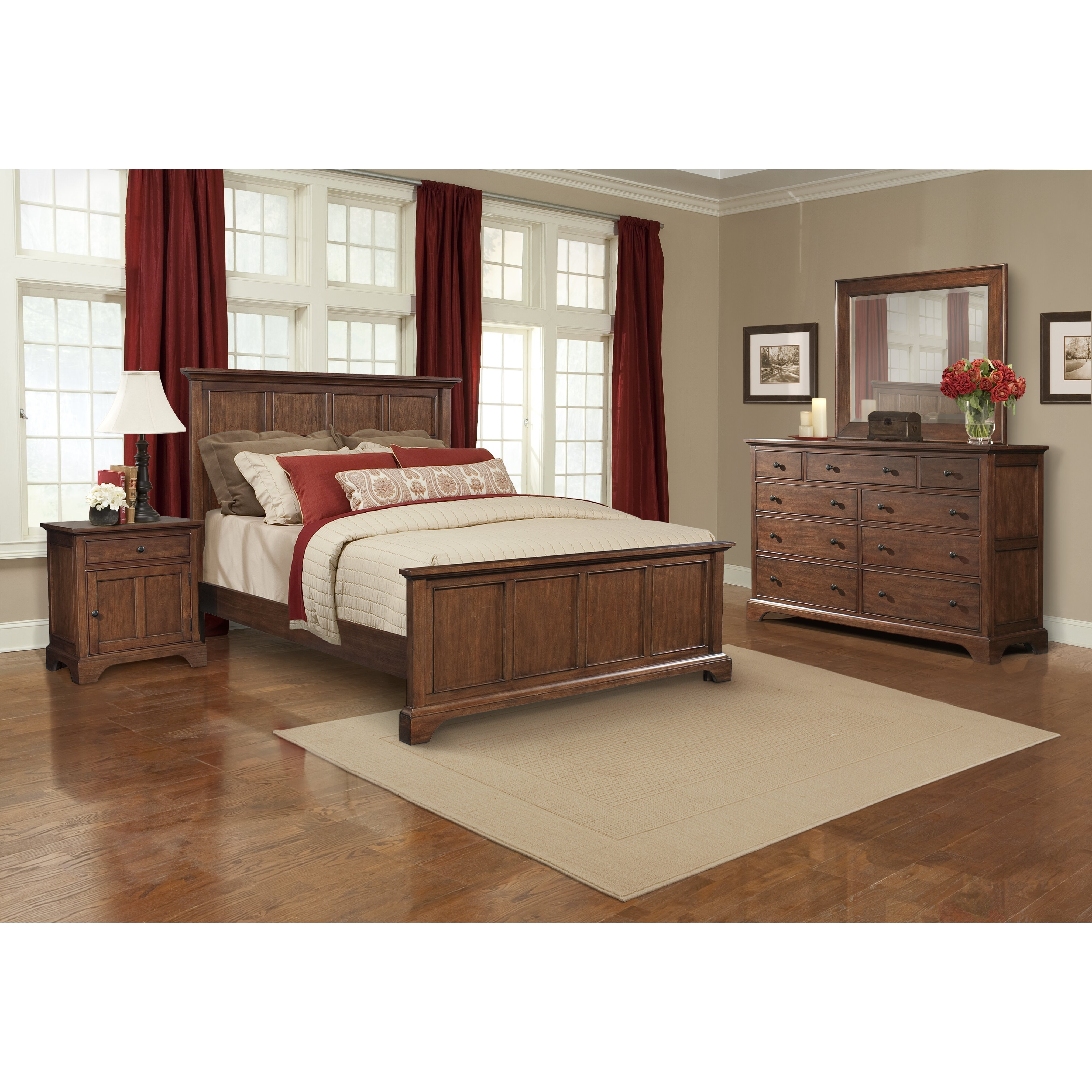cresent furniture retreat cherry queen panel customizable bedroom set reviews wayfair. Black Bedroom Furniture Sets. Home Design Ideas