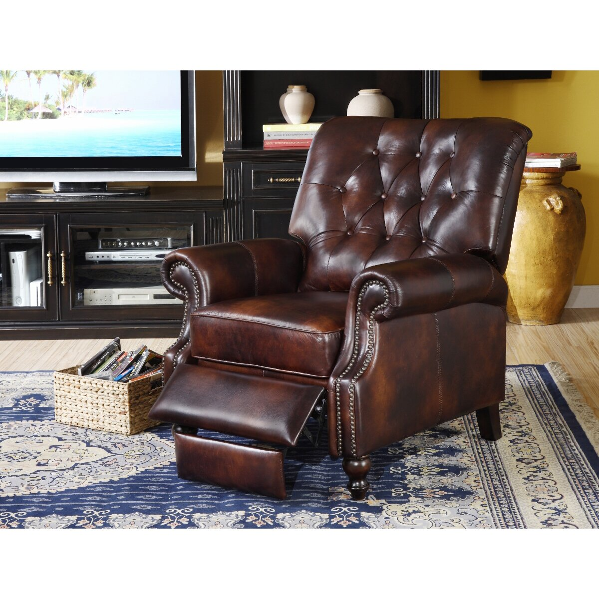 Lazzaro Leather Philip Tufted Back Top Grain Leather ...