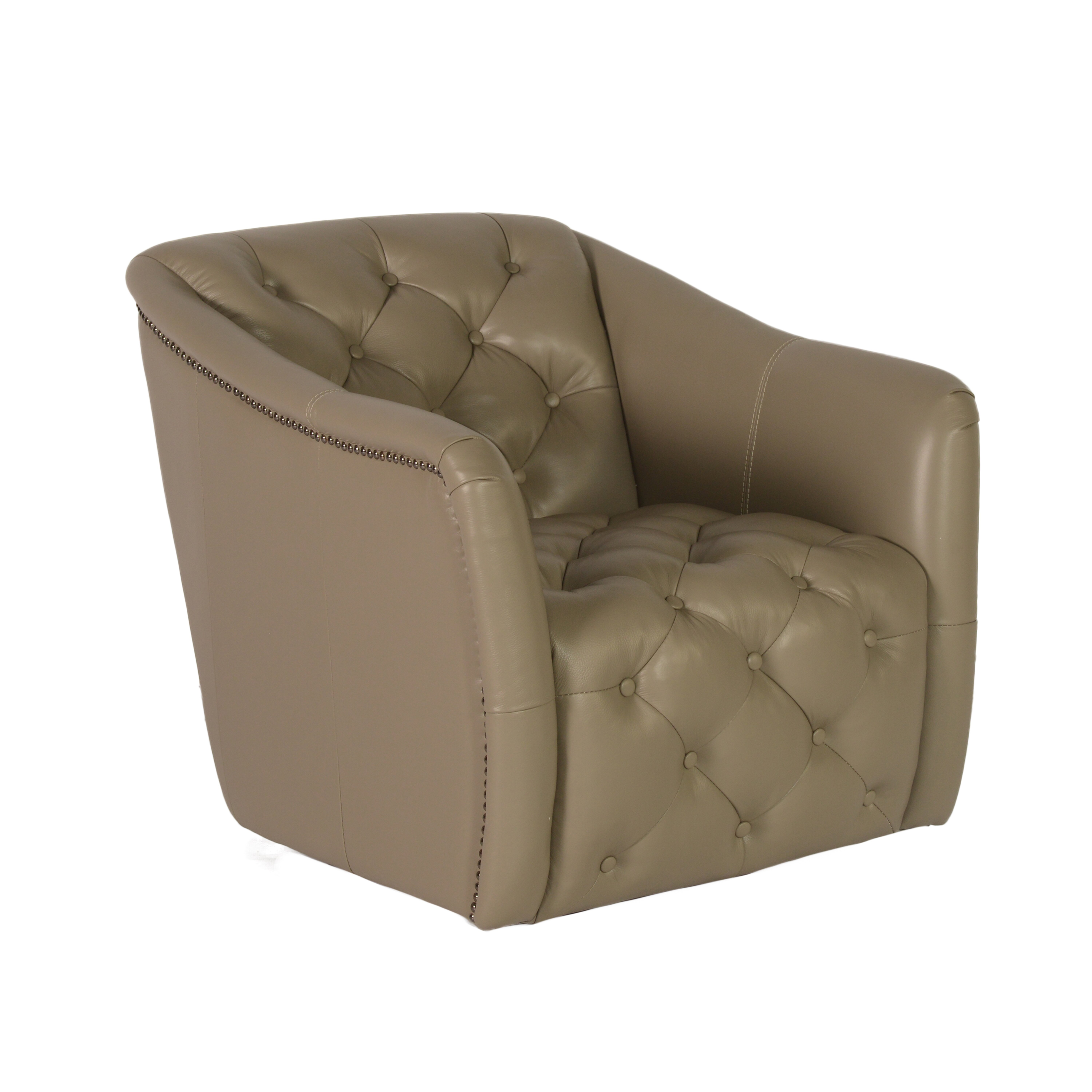 Lazzaro leather hollywood tufted swivel tub arm chair for Swivel accent chairs with arms