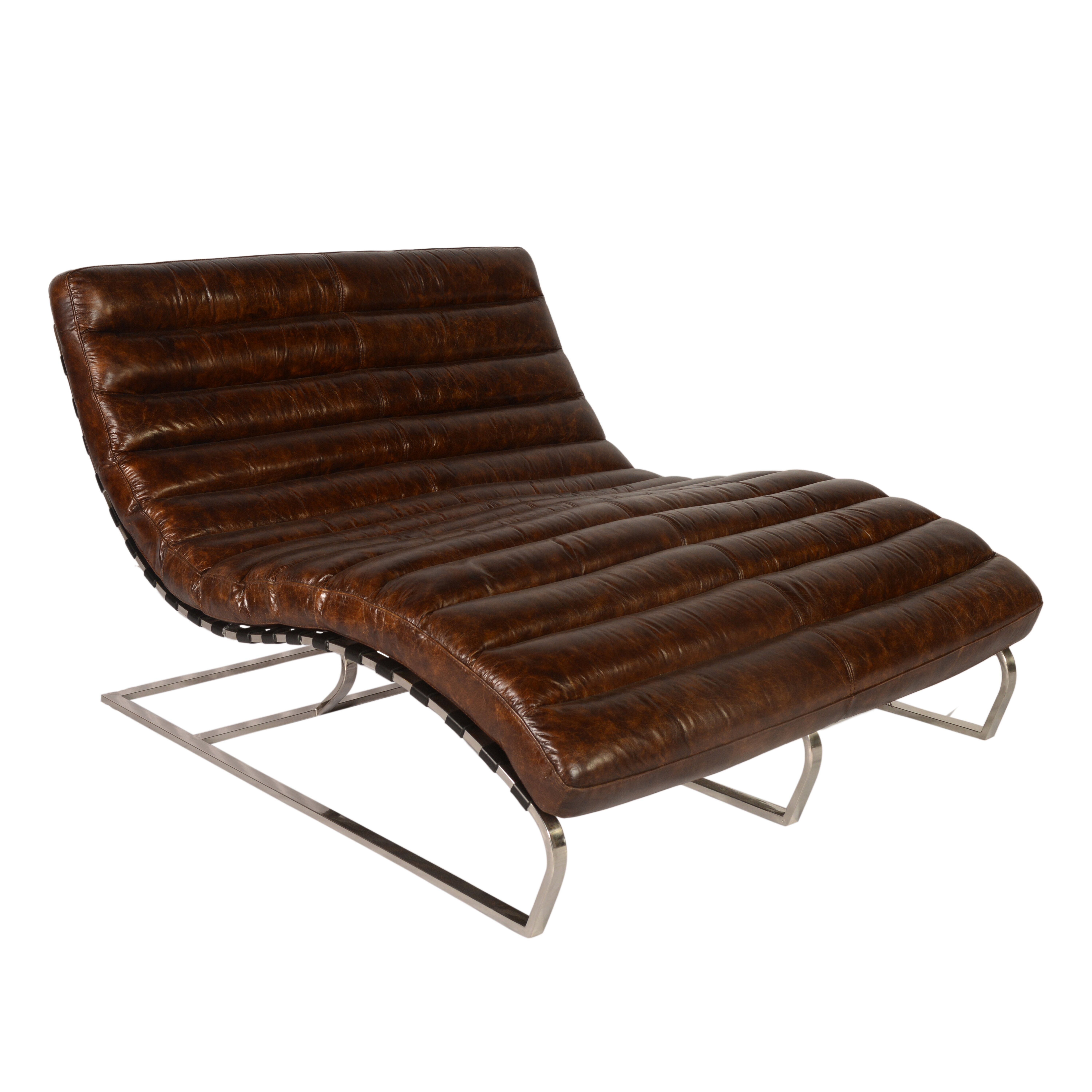 Lazzaro leather perici leather double chaise lounge wayfair for Chaise double lounge