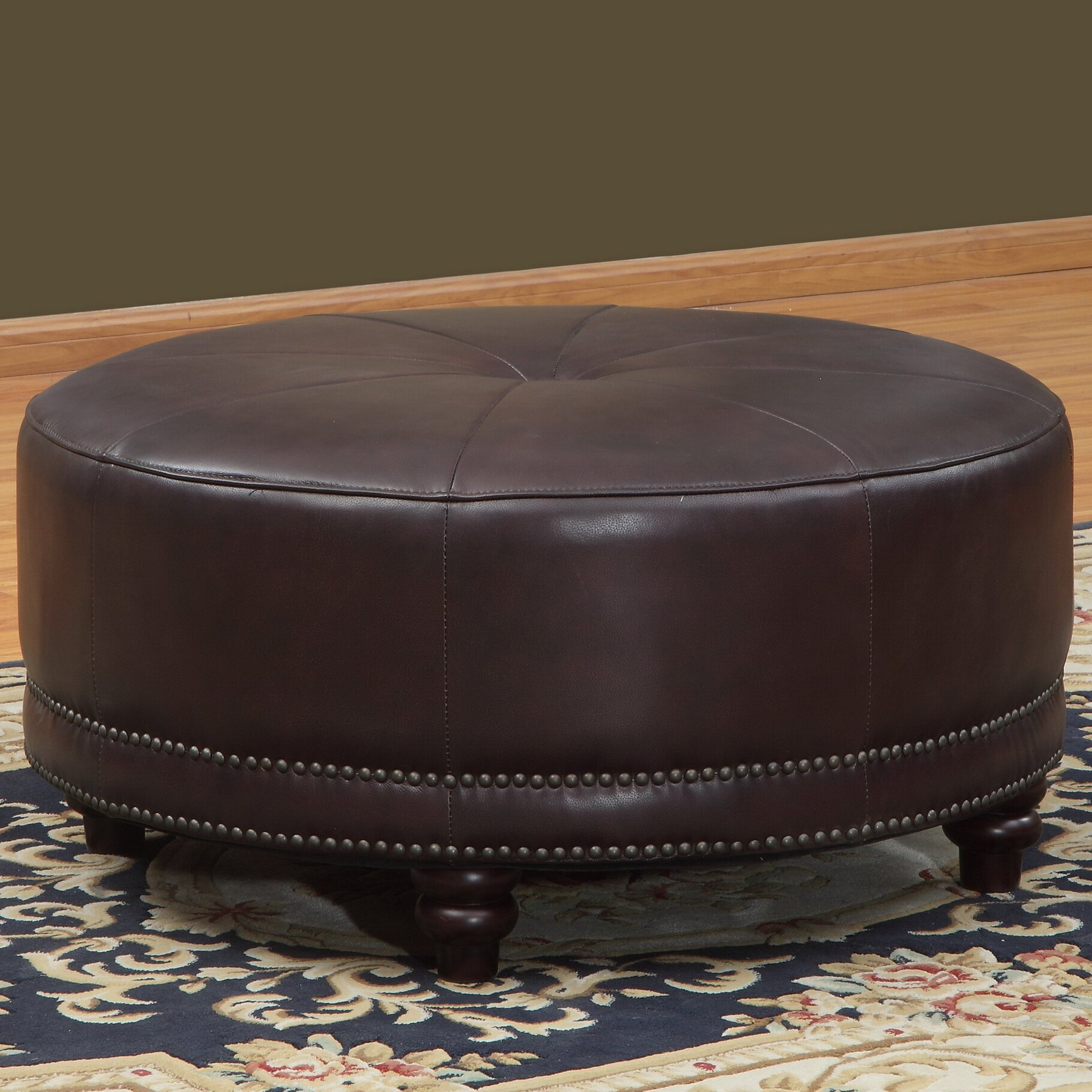 Lazzaro Leather Cindy Round Leather Ottoman Reviews