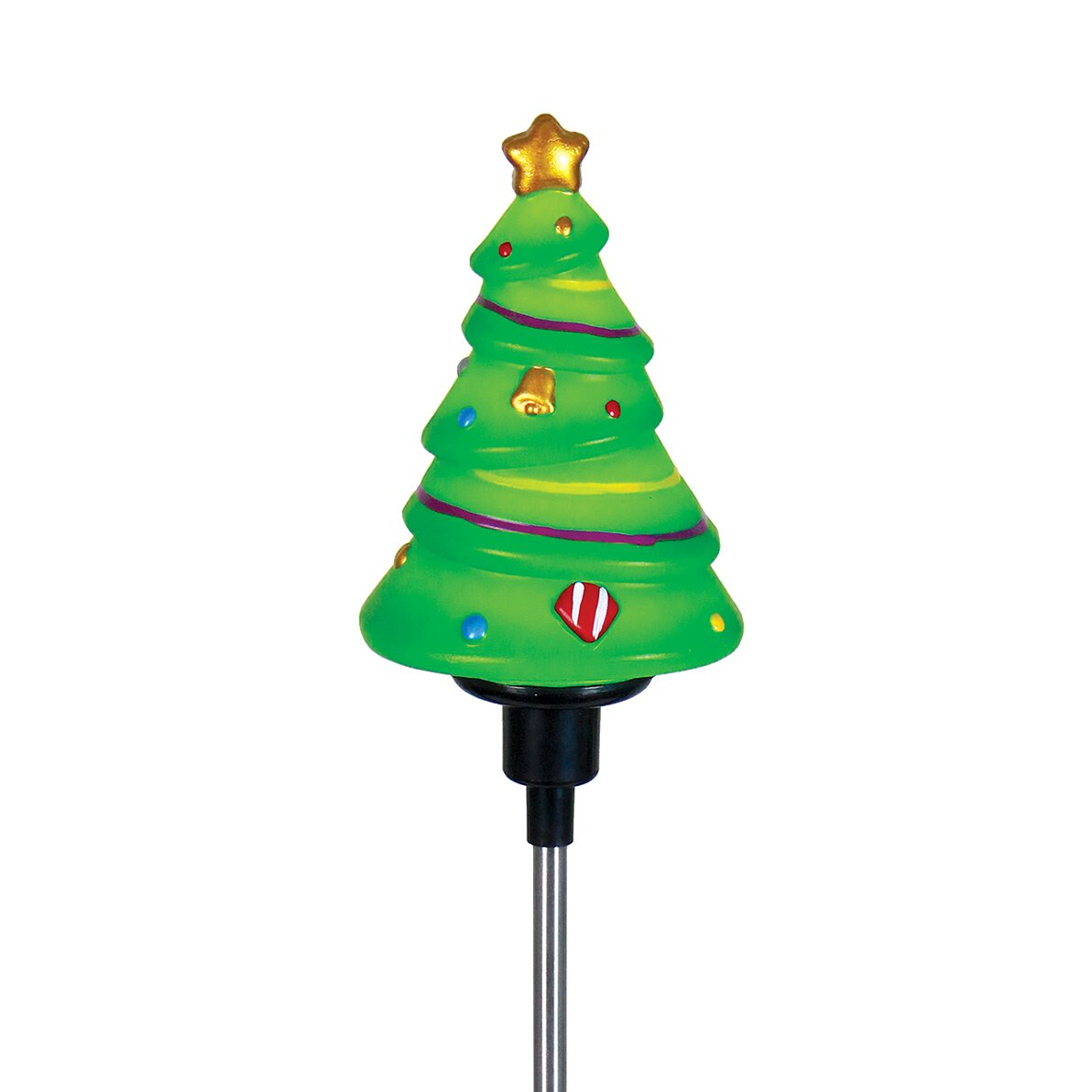 "Stake Christmas Trees: Exhart 30"" Green Artificial Christmas Tree With Solar LED"