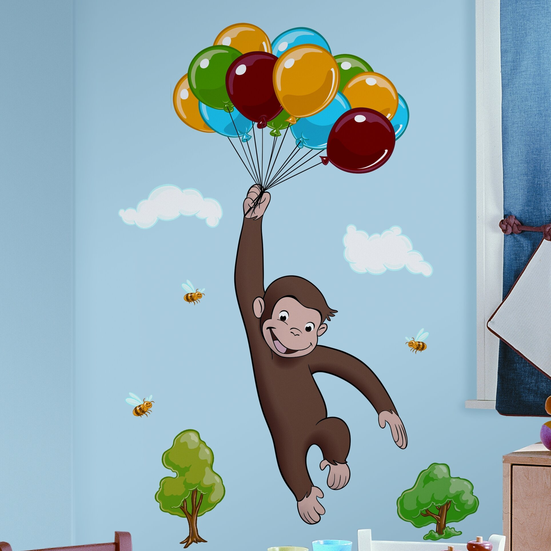 Room mates favorite characters 10 piece curious george for Curious george giant wall mural