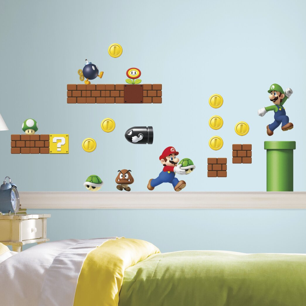 Room mates nintendo 45 piece super mario wall decal reviews wayfair - Mario wall clings ...