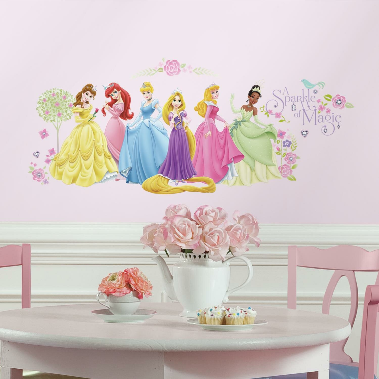 Room mates popular characters disney princess wall decal for Disney princess mural stickers