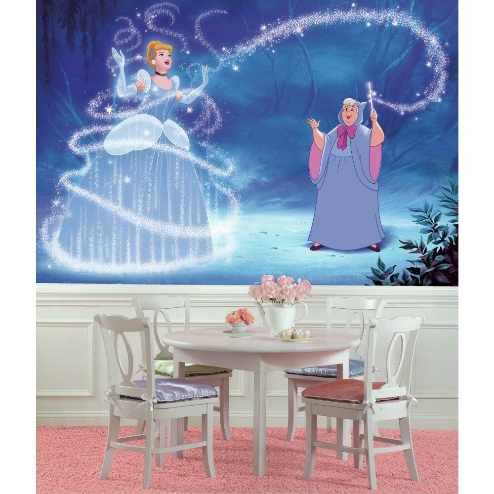 Room mates disney princess cinderella magic chair rail for Cinderella wall mural