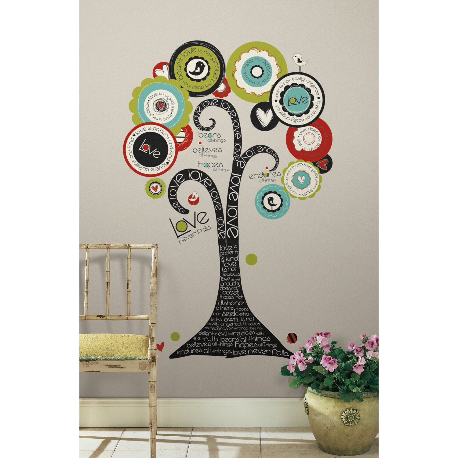 room mates peel and stick giant 32 piece tree of hope wall. Black Bedroom Furniture Sets. Home Design Ideas