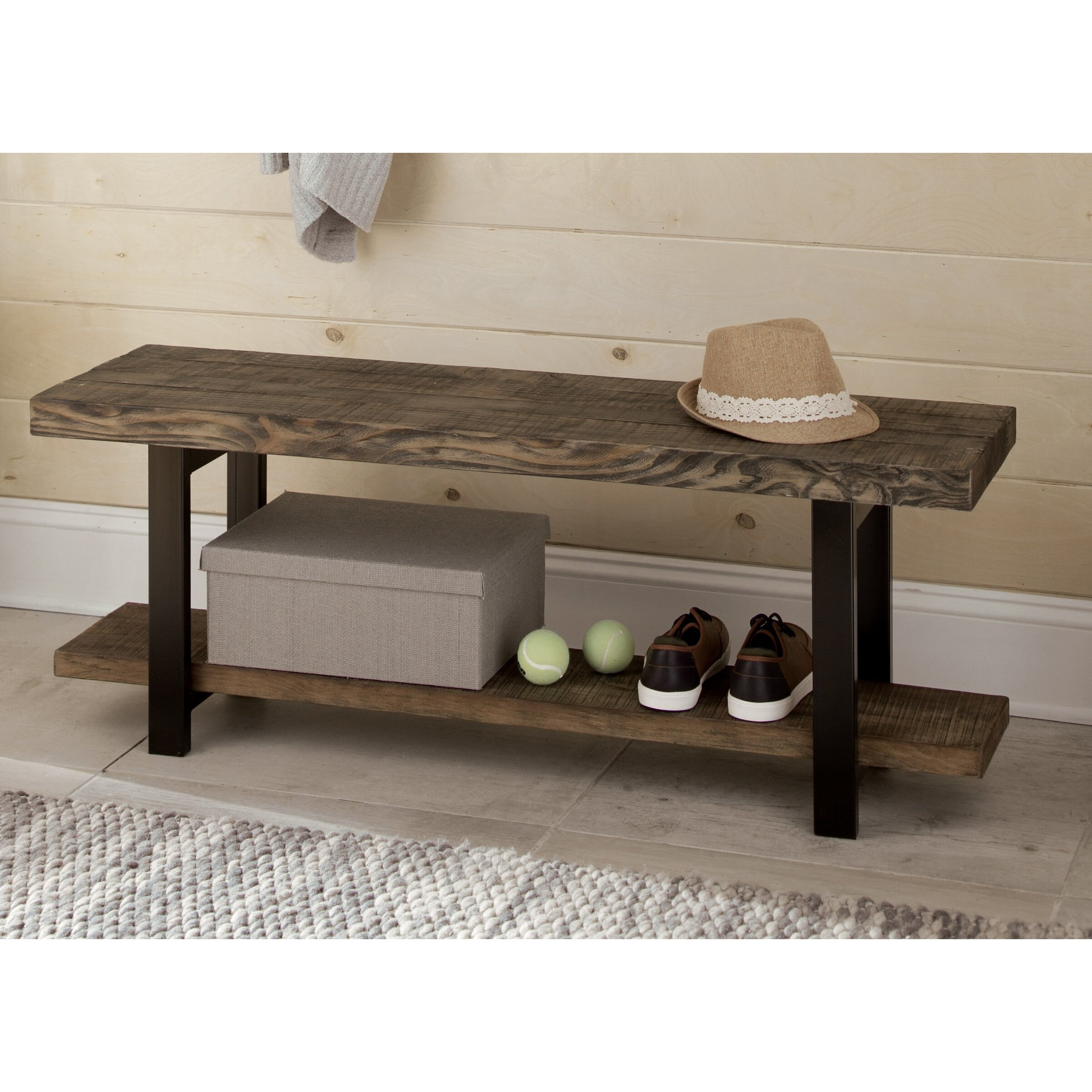 loon peak somers reclaimed wood metal storage entryway bench reviews wayfair. Black Bedroom Furniture Sets. Home Design Ideas