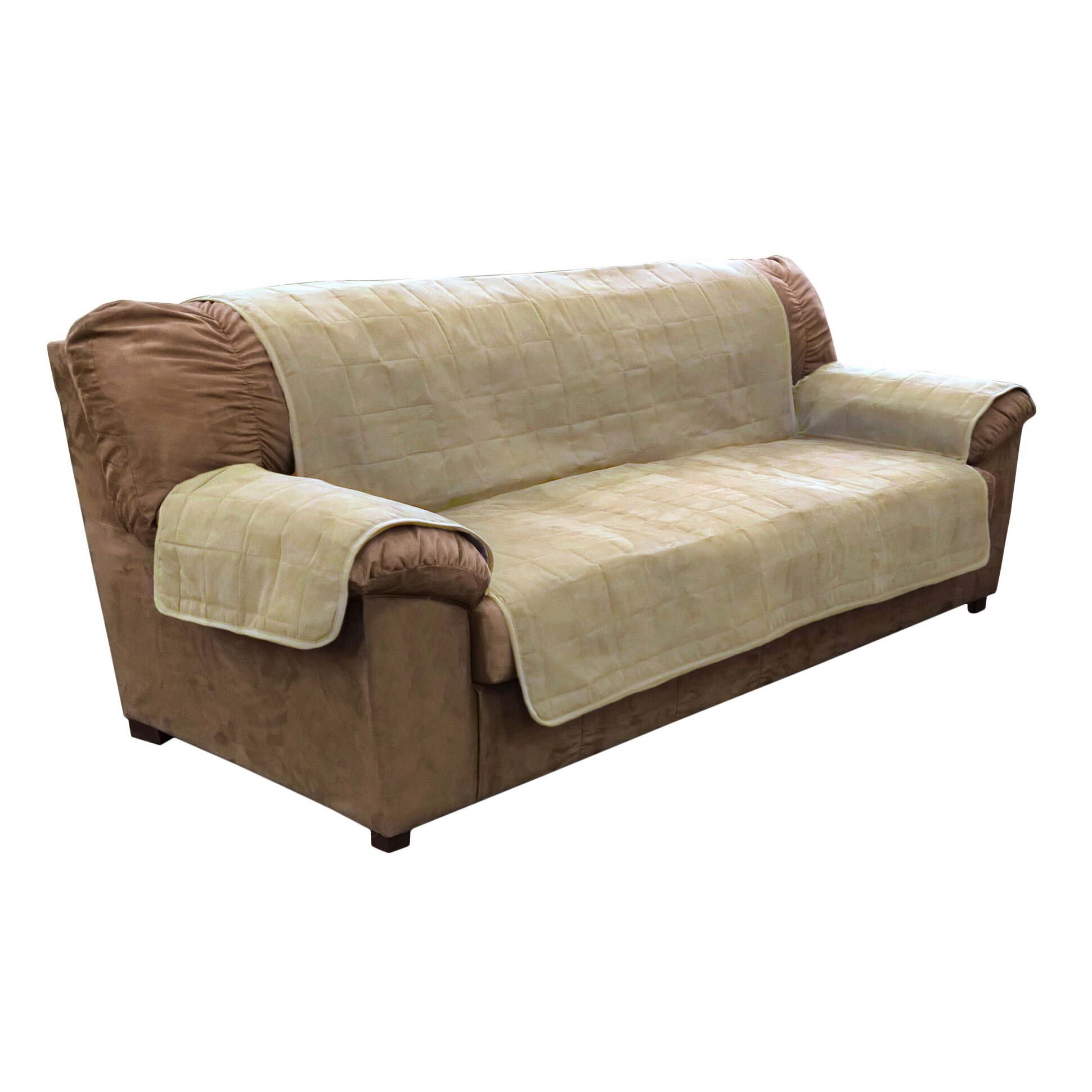 Furhaven suede sofa slipcover reviews wayfair for Suede furniture