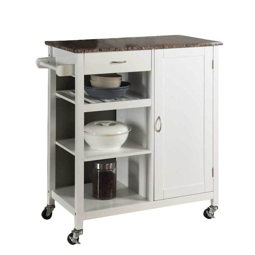 Inroom Designs Kitchen Cart With Faux Marble Top Reviews Wayfair