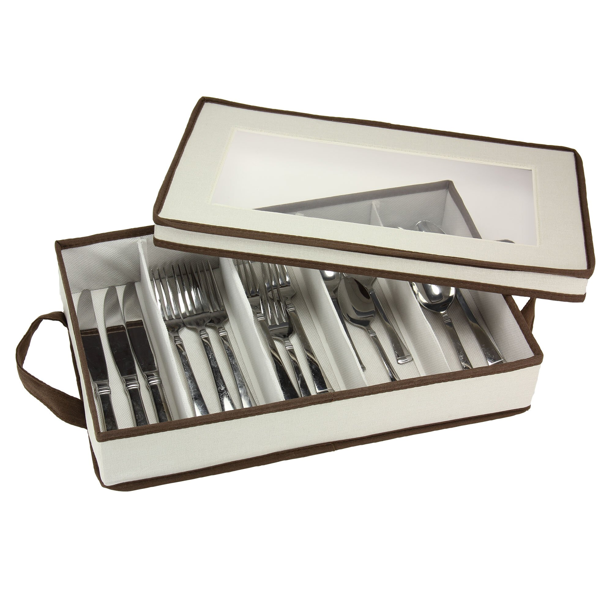 Household essentials flatware organizer with trim top for Cutlery storage with lid