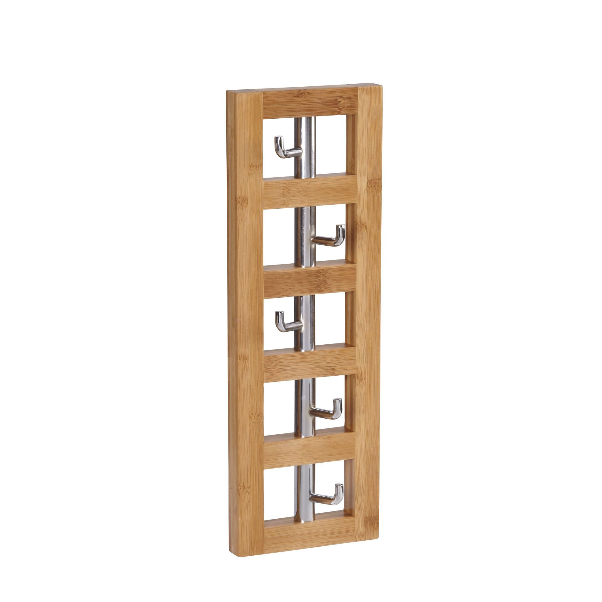 Household essentials bamboo vertical 5 hook wall coat rack for Household essentials whitney design