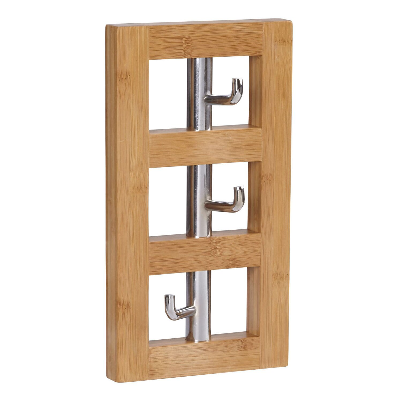 household essentials bamboo vertical 3 hook wall coat rack. Black Bedroom Furniture Sets. Home Design Ideas