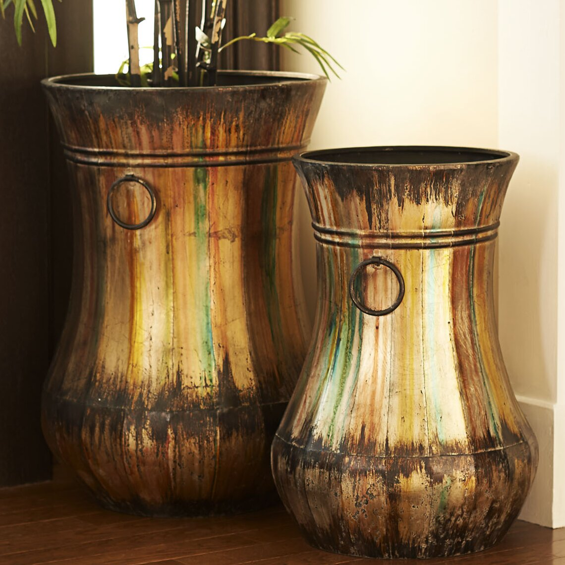 Household Essentials 2 Piece Hand Painted Floor Vase Set