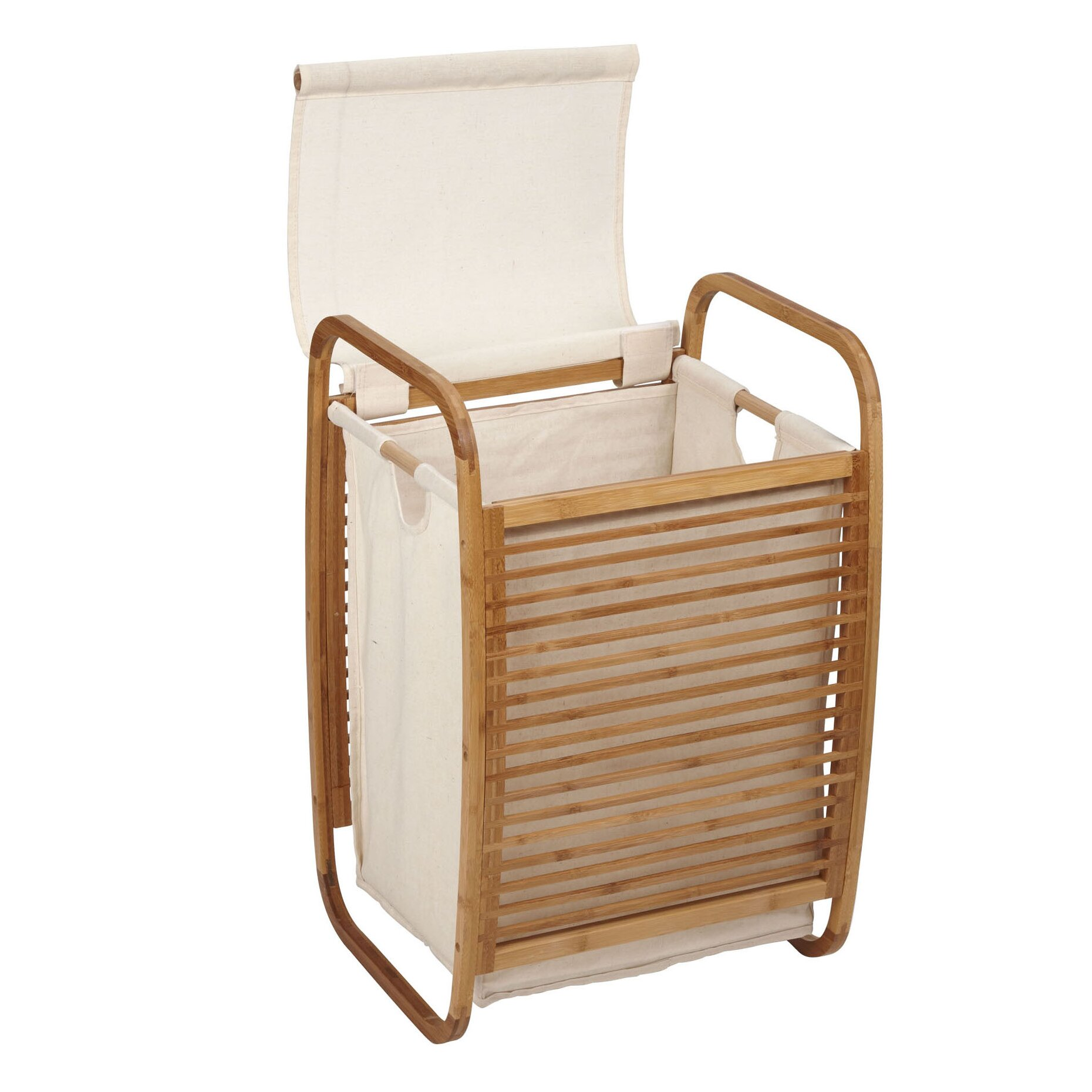 Household Essentials Bowed Bamboo Compact Laundry Hamper