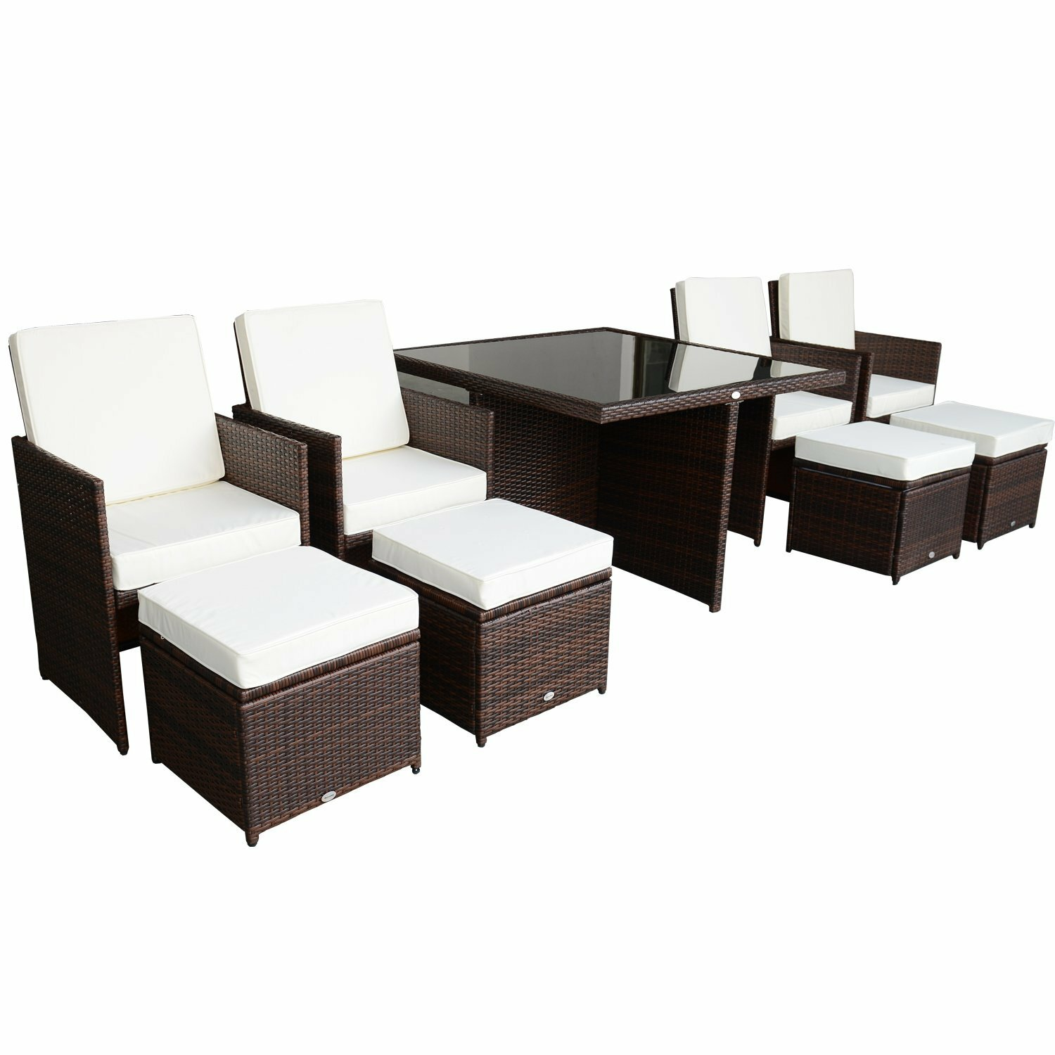 aosom outsunny 9 piece outdoor pe rattan wicker nesting. Black Bedroom Furniture Sets. Home Design Ideas
