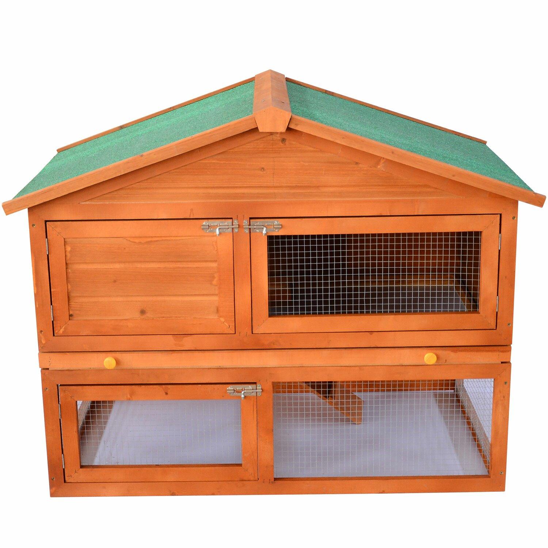 Aosom pawhut 48 deluxe 2 level backyard bunny rabbit for 2 rabbit hutch