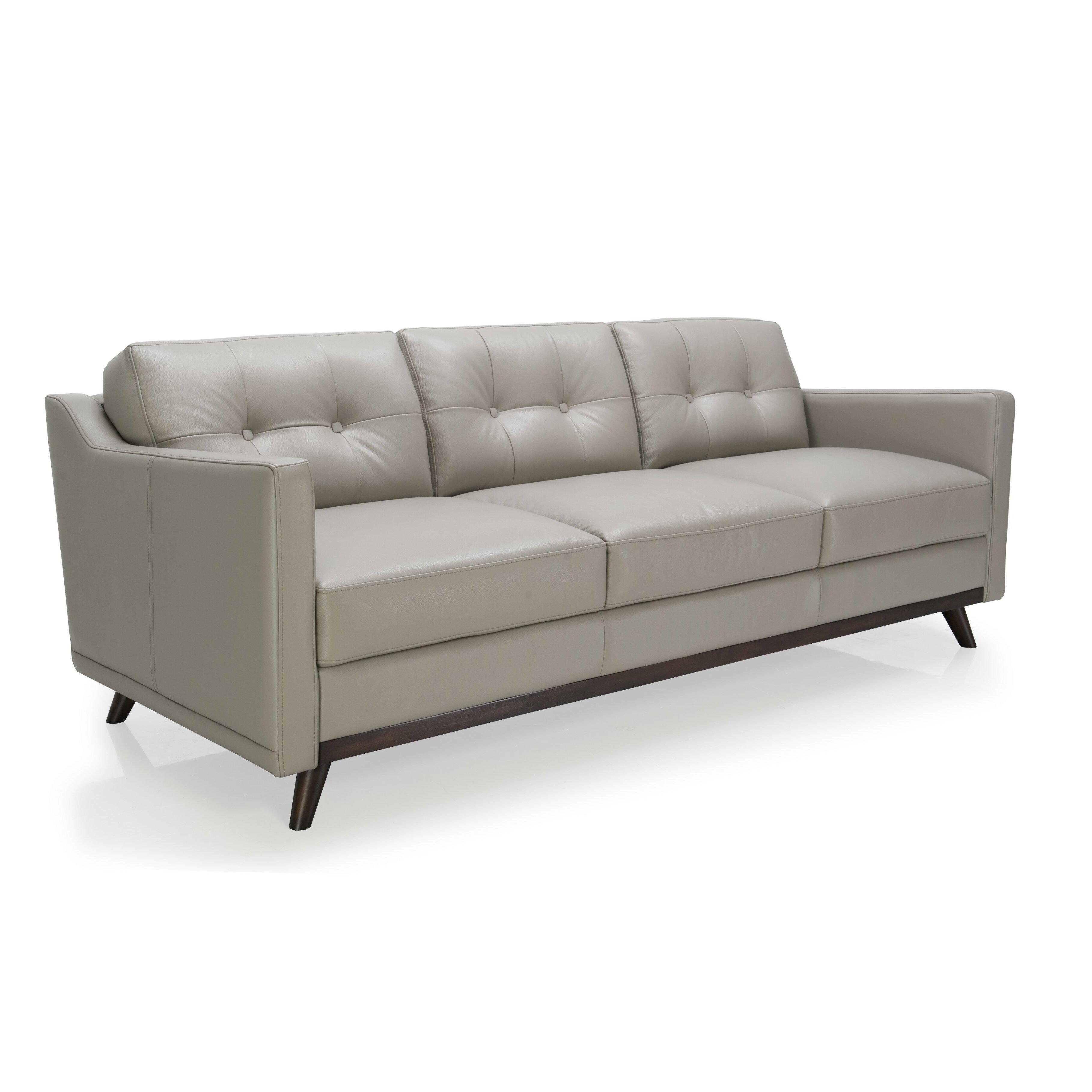 moroni monika full top grain leather sofa wayfair. Black Bedroom Furniture Sets. Home Design Ideas