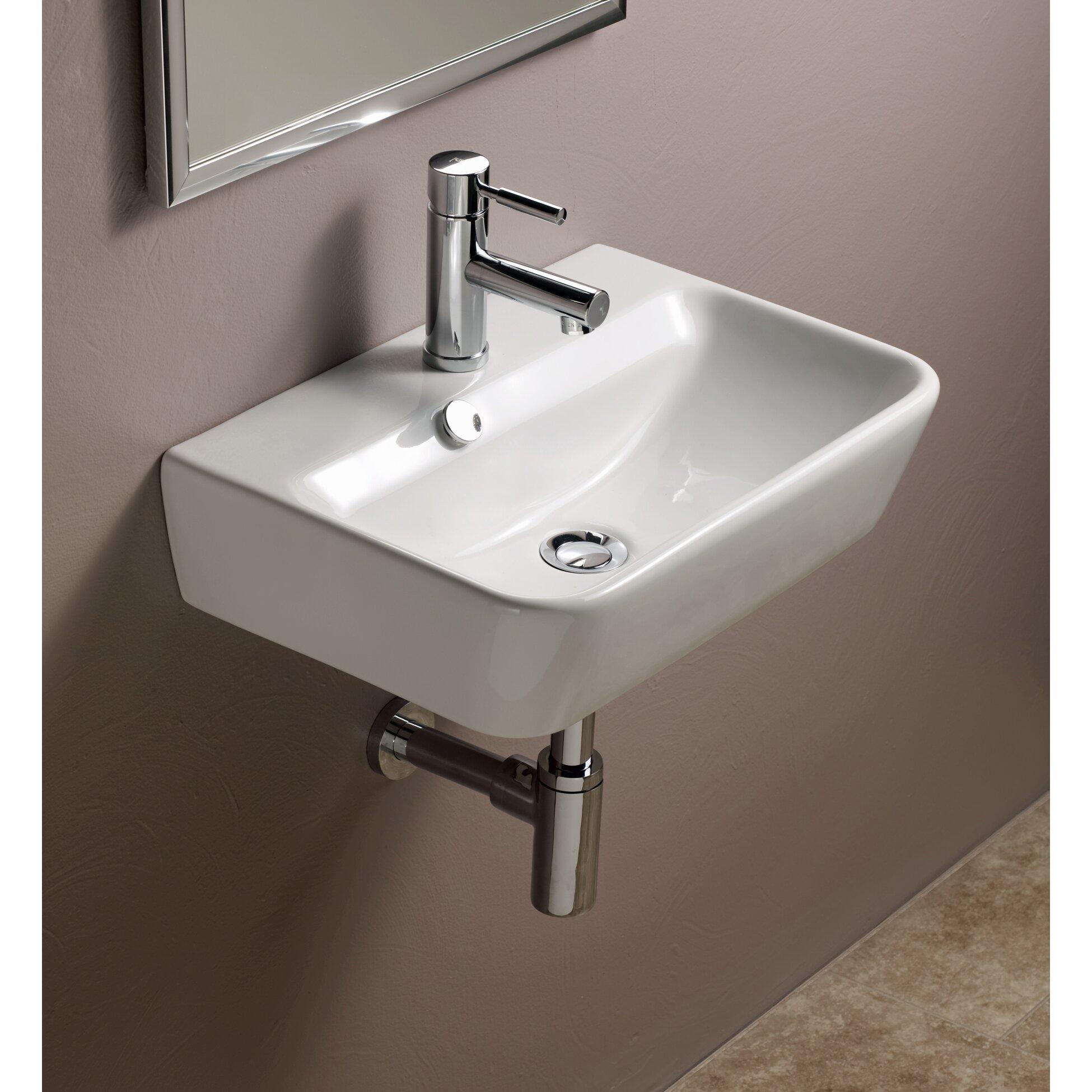Bissonnet Emma Ceramic Wall Hung Bathroom Sink & Reviews Wayfair ...