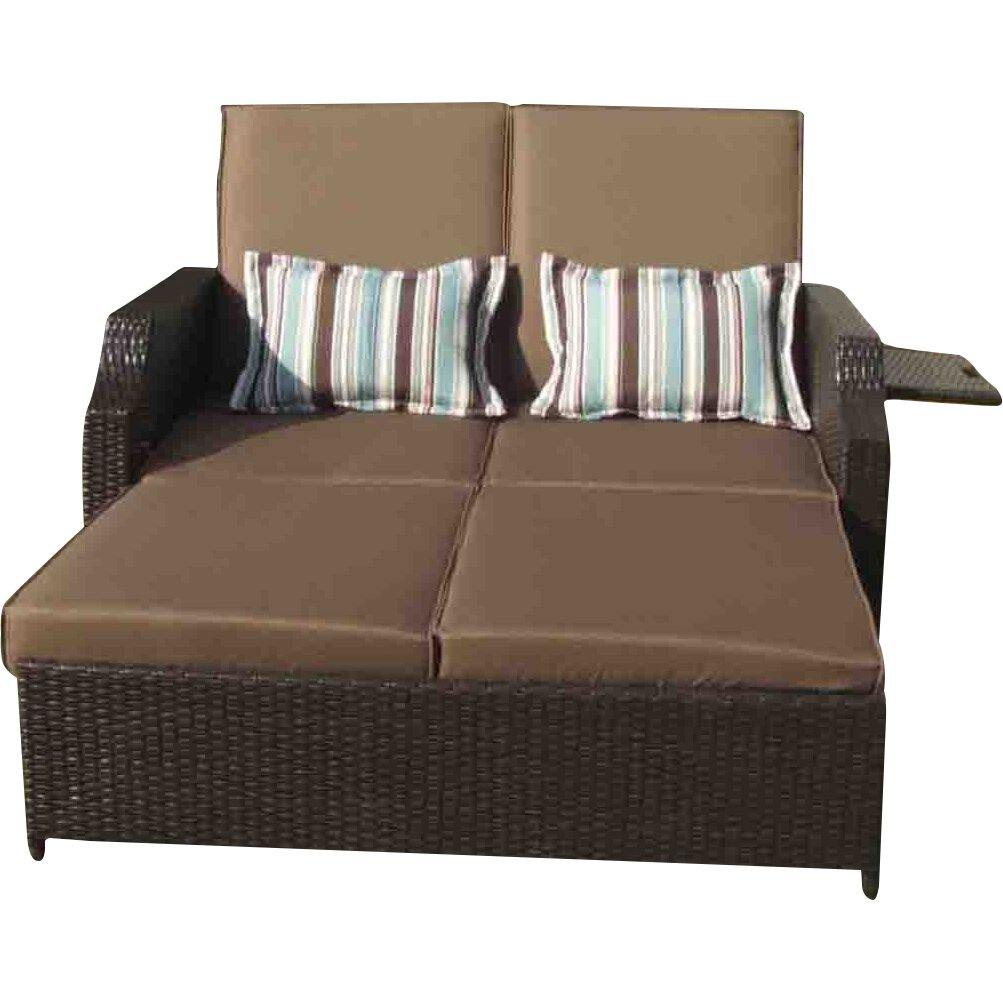 Gazebo penguin double chaise lounge with cushions for Chaise lounge cushions
