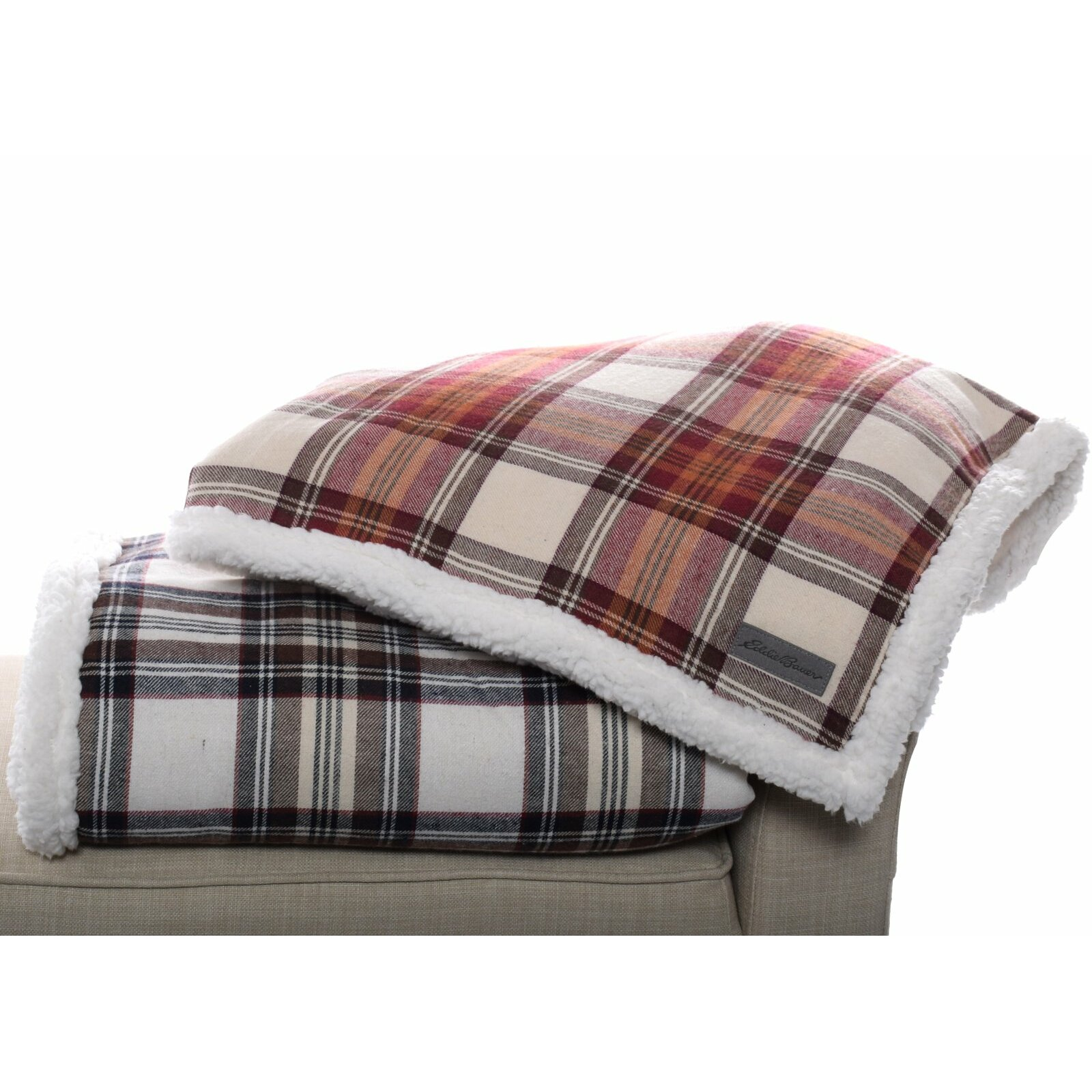 Ed Bauer Edgewood Plaid Flannel Sherpa Throw Blanket & Reviews
