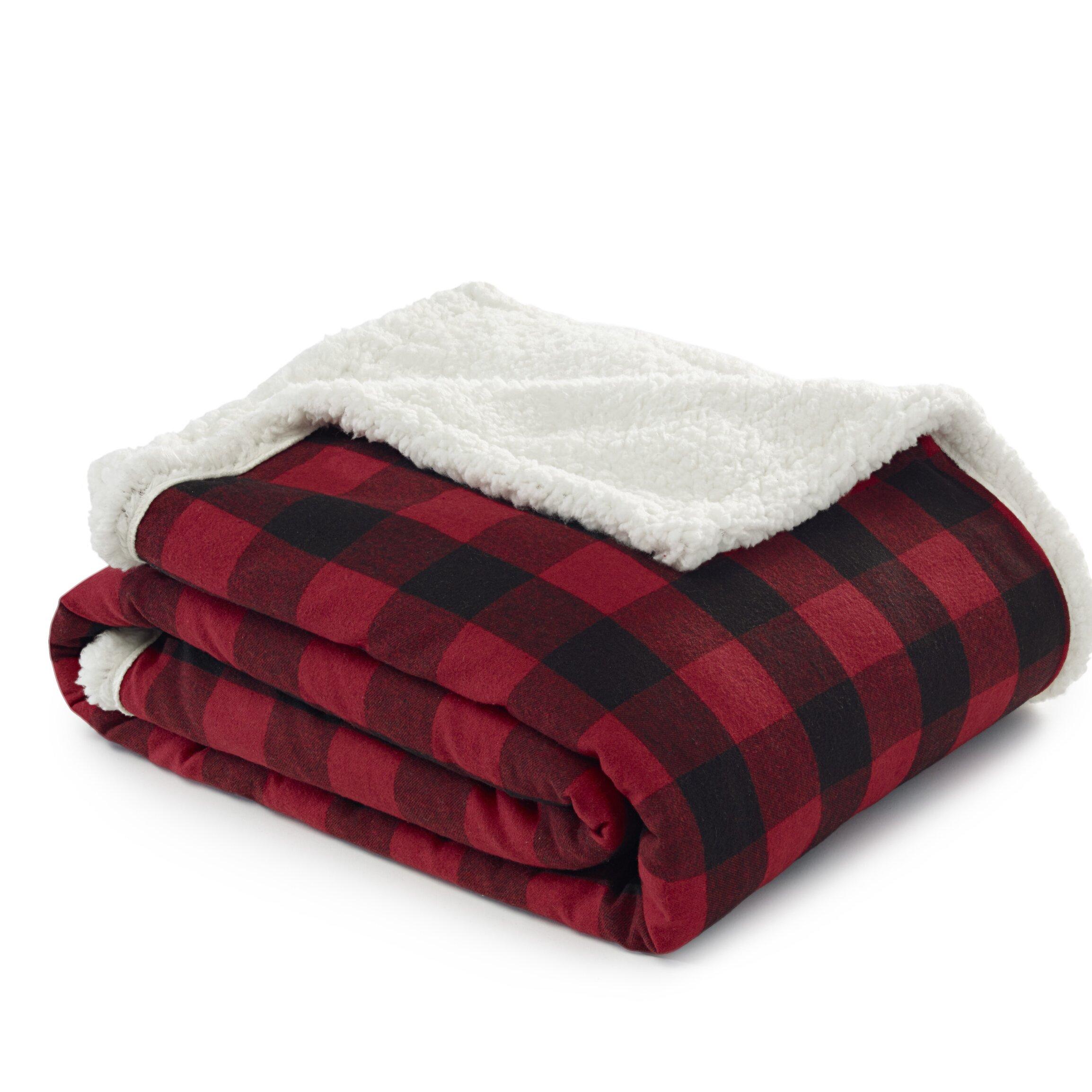 Eddie bauer cabin plaid flannel sherpa cotton throw for Sherpa blanket