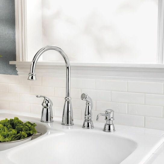 deck mounted kitchen faucet with soap lotion dispenser and side spray
