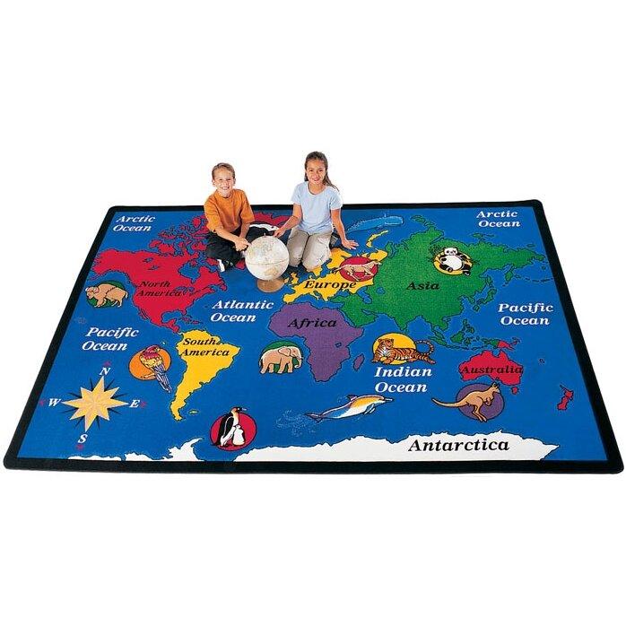 Carpets For Kids Geography Blue World Explorer Area Rug