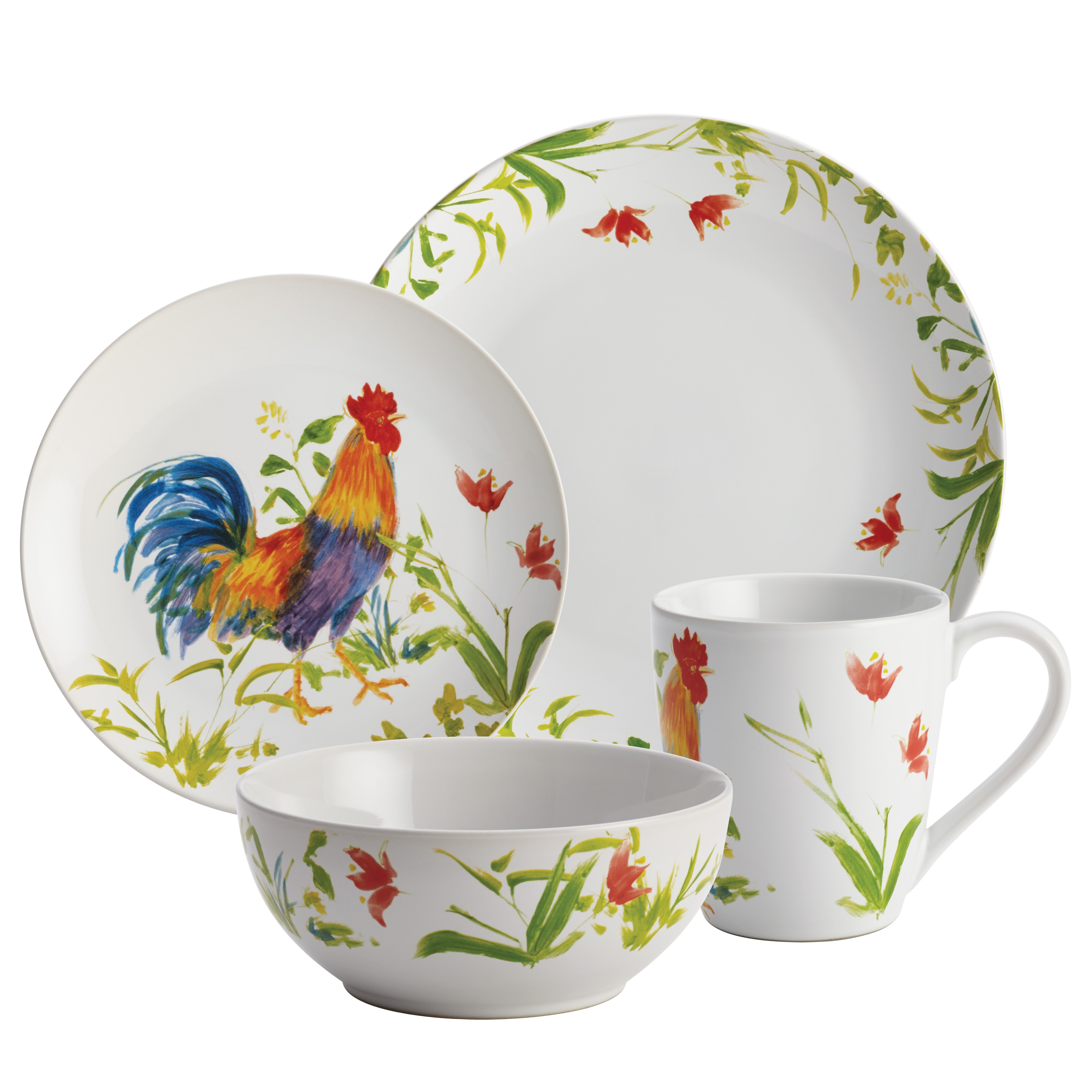 Rooster Dinnerware Sets: BonJour Meadow Rooster Stoneware 16 Piece Dinnerware Set
