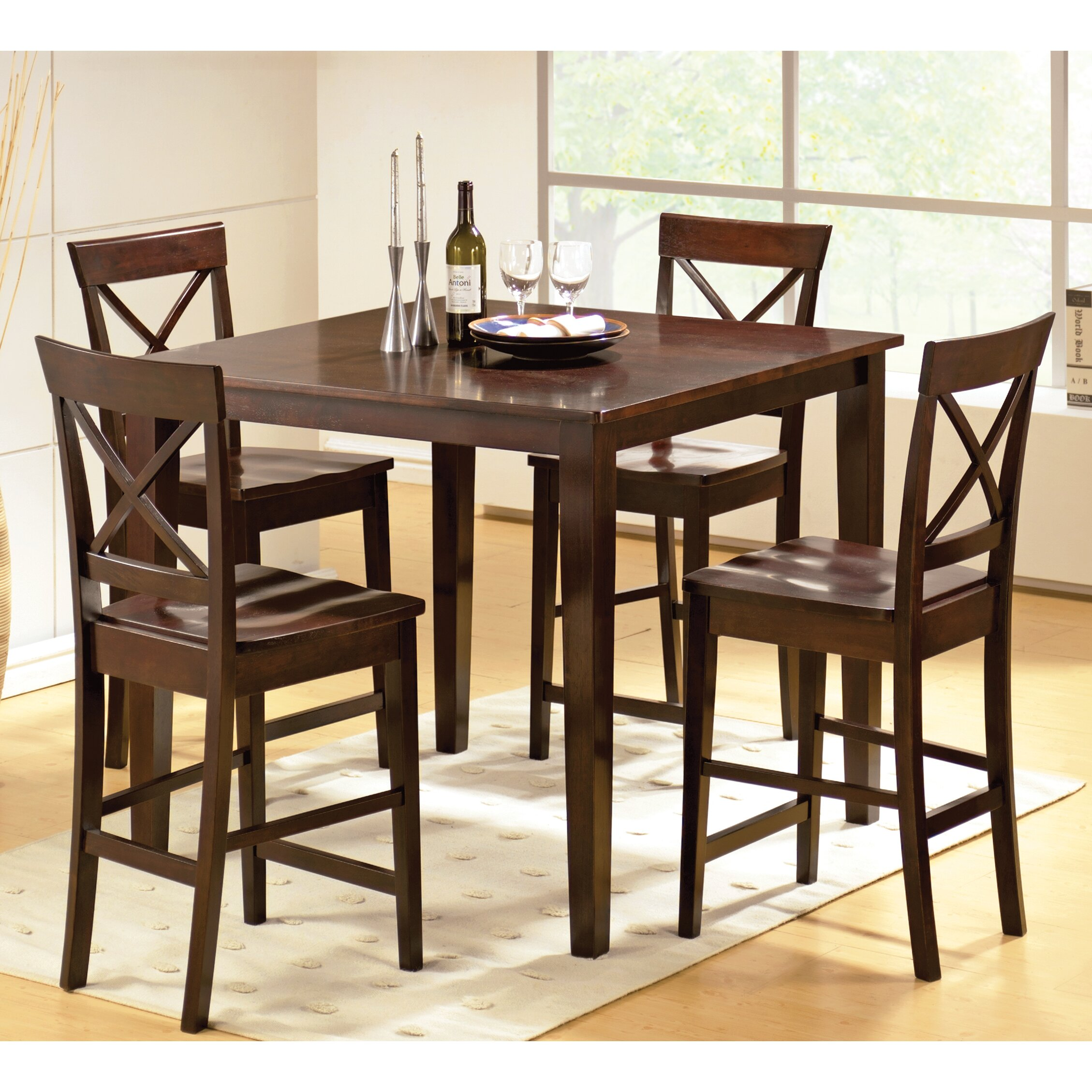 Steve silver furniture cobalt 5 piece counter height dining set reviews wayfair - Silver dining table and chairs ...