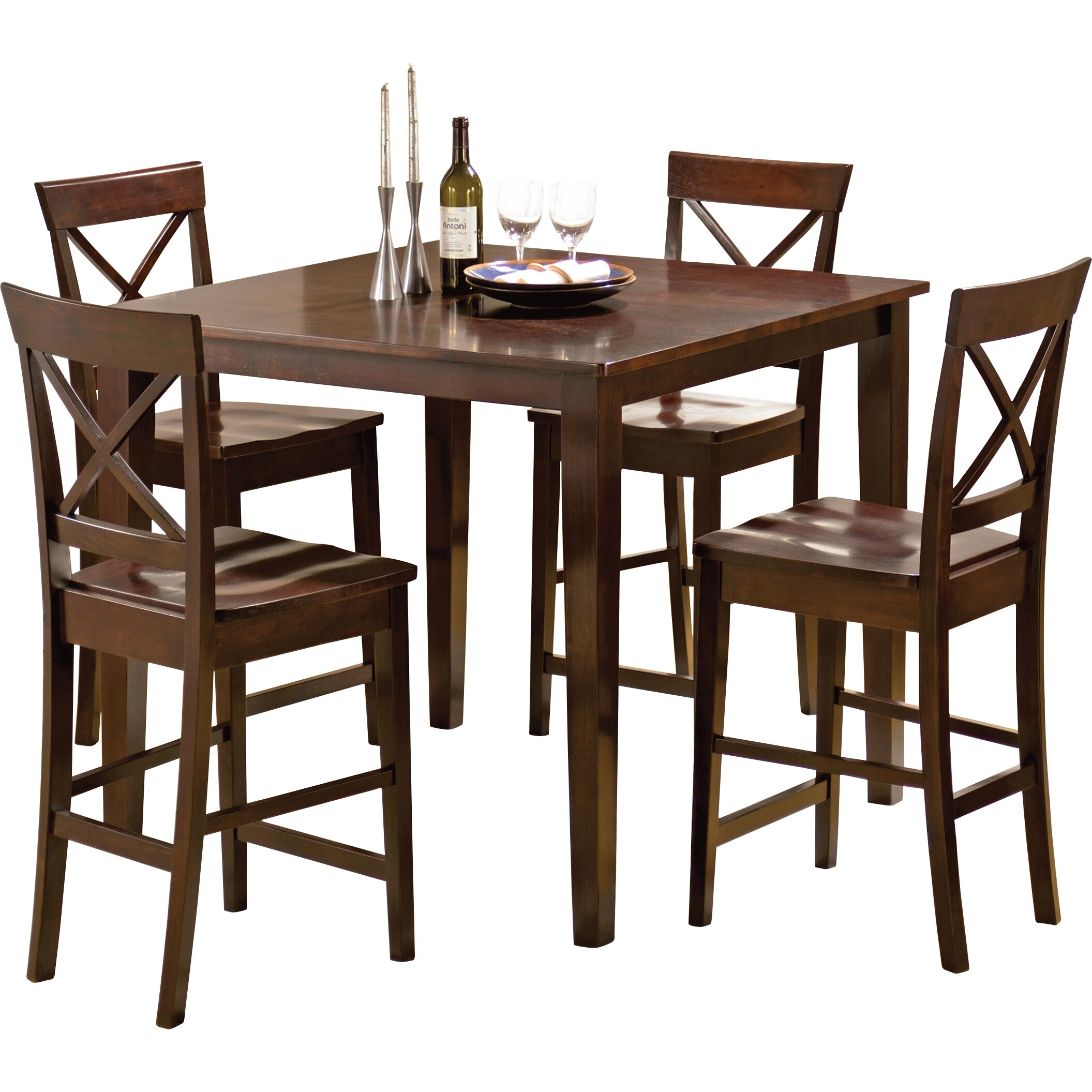 Steve silver furniture cobalt 5 piece counter height for Tall dinner table set