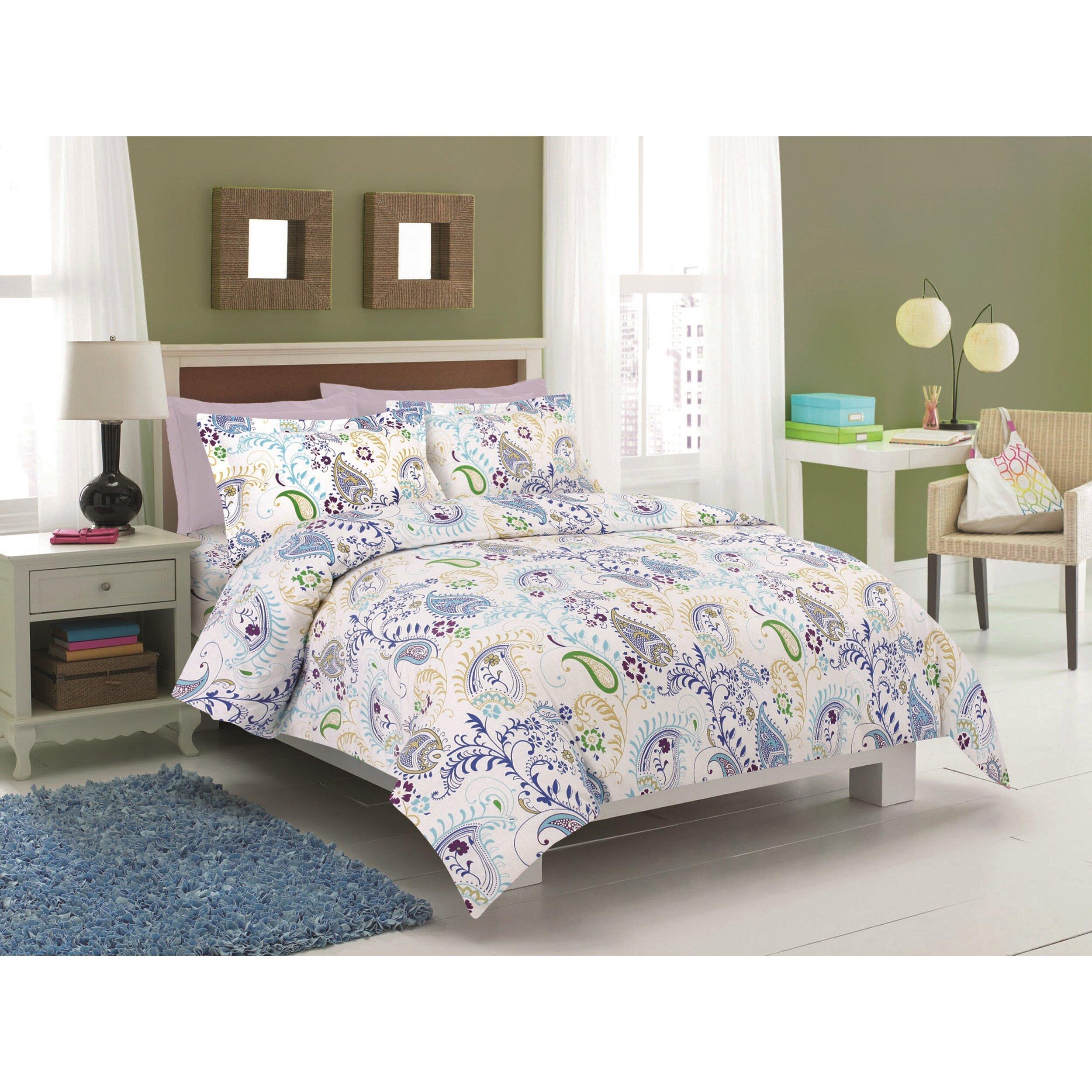 Tribeca living 3 piece duvet set reviews wayfair for Living room quilt cover