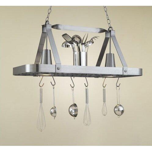Hi-Lite Sterling Rectangular Hanging Pot Rack with 2 ...