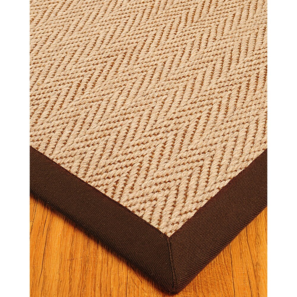 Dog Eating Wool Rug: Natural Area Rugs Wool Emblem Cream / Brown Area Rug