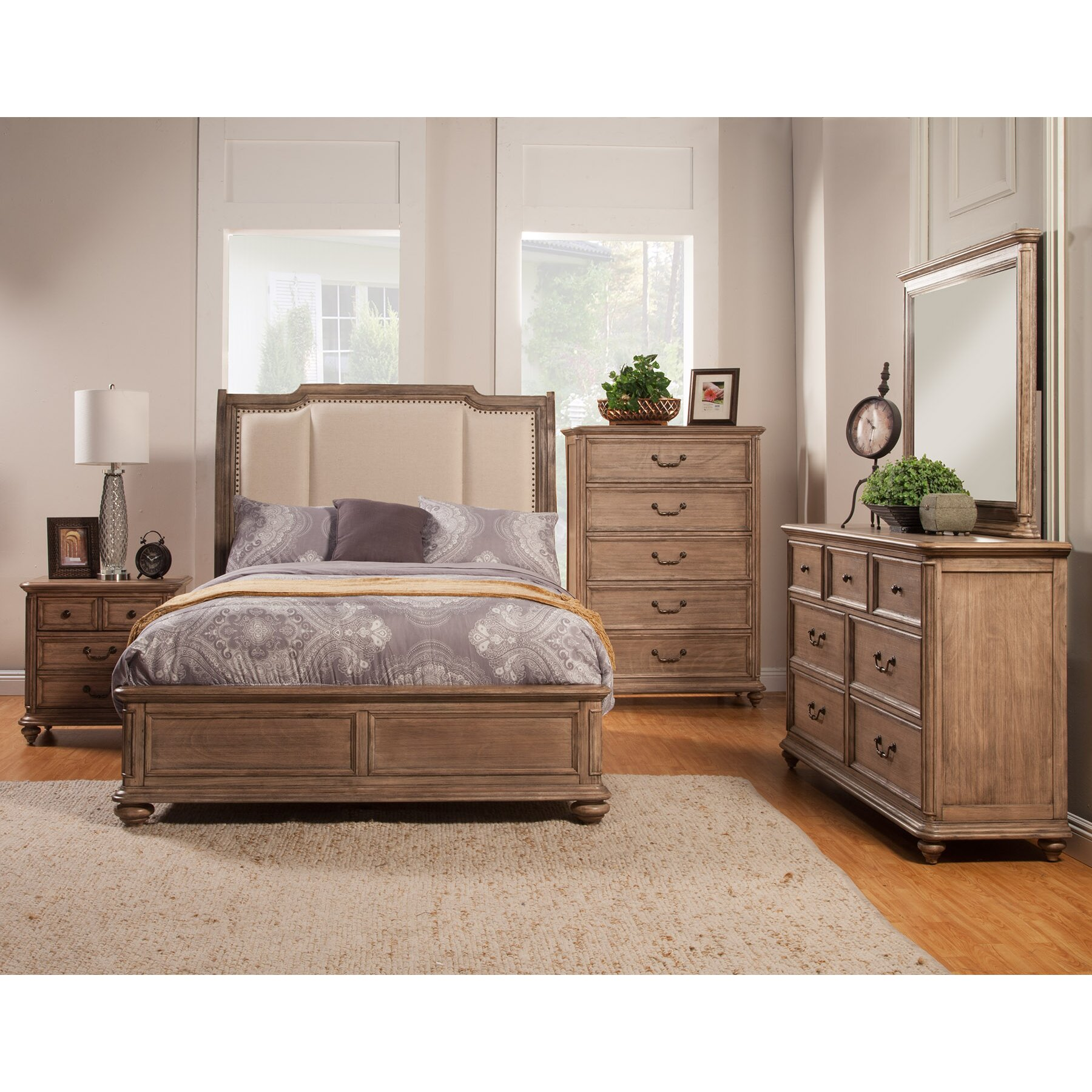 Bedroom Furniture: Alpine Furniture Melbourne Panel Customizable Bedroom Set