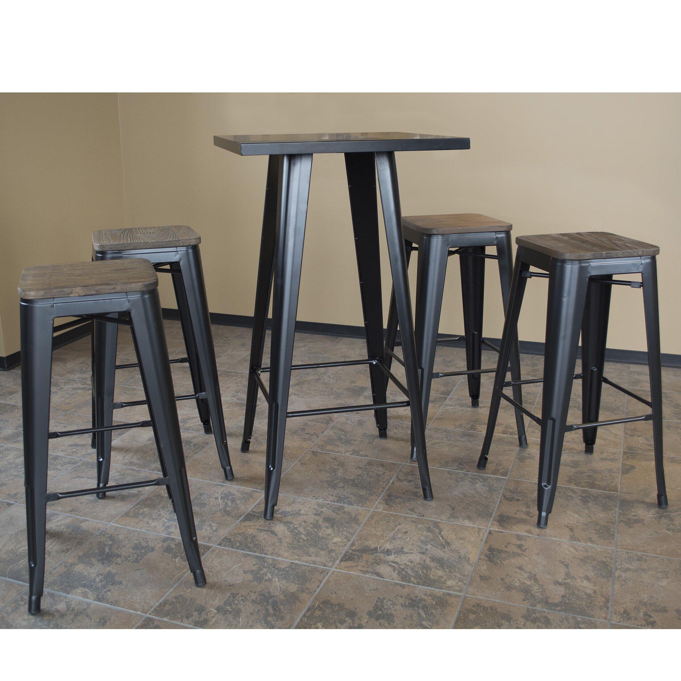 buffalo tools amerihome loft 5 piece pub table set wayfair. Black Bedroom Furniture Sets. Home Design Ideas