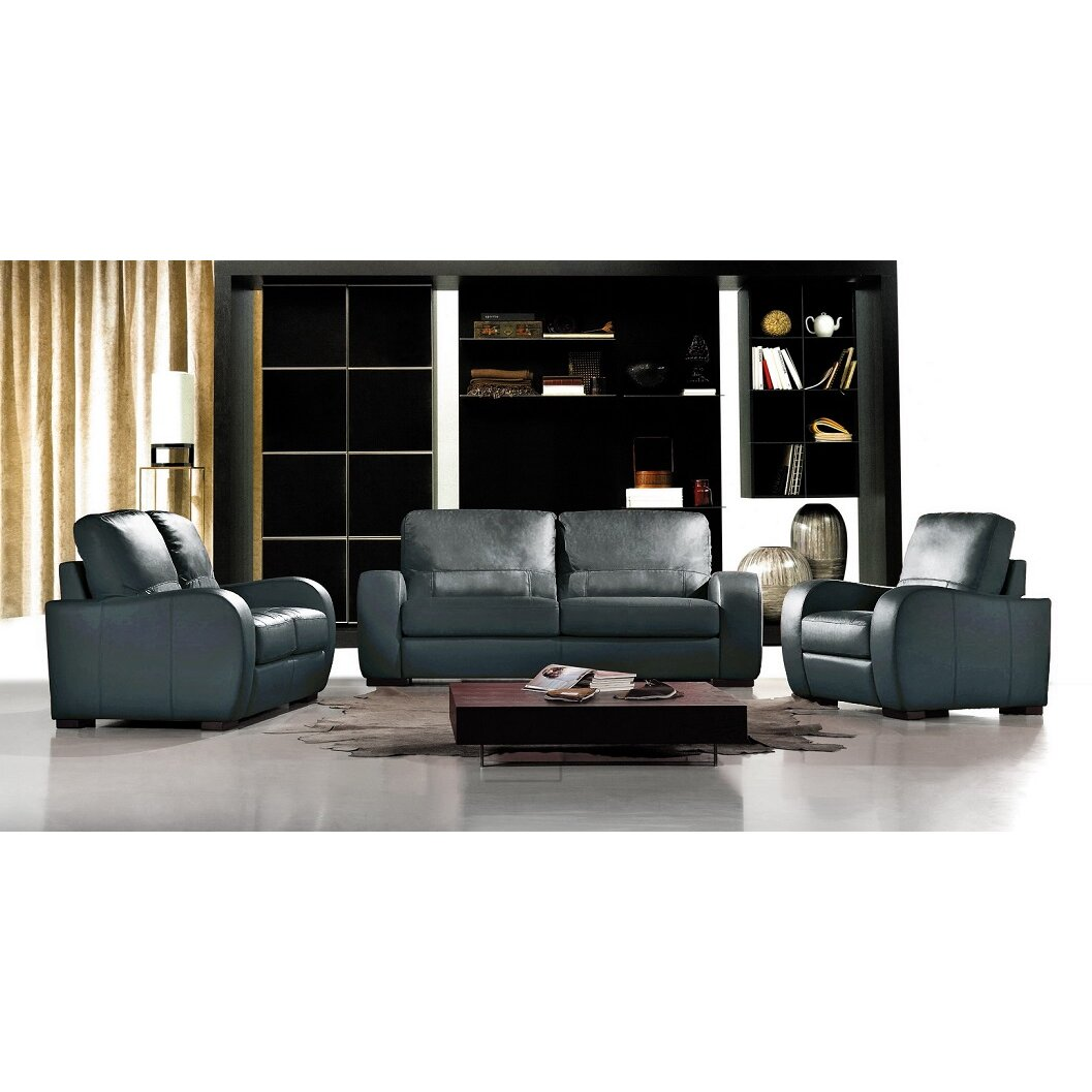 Hokku designs savana bergamo leather living room set wayfair for Leather living room sets