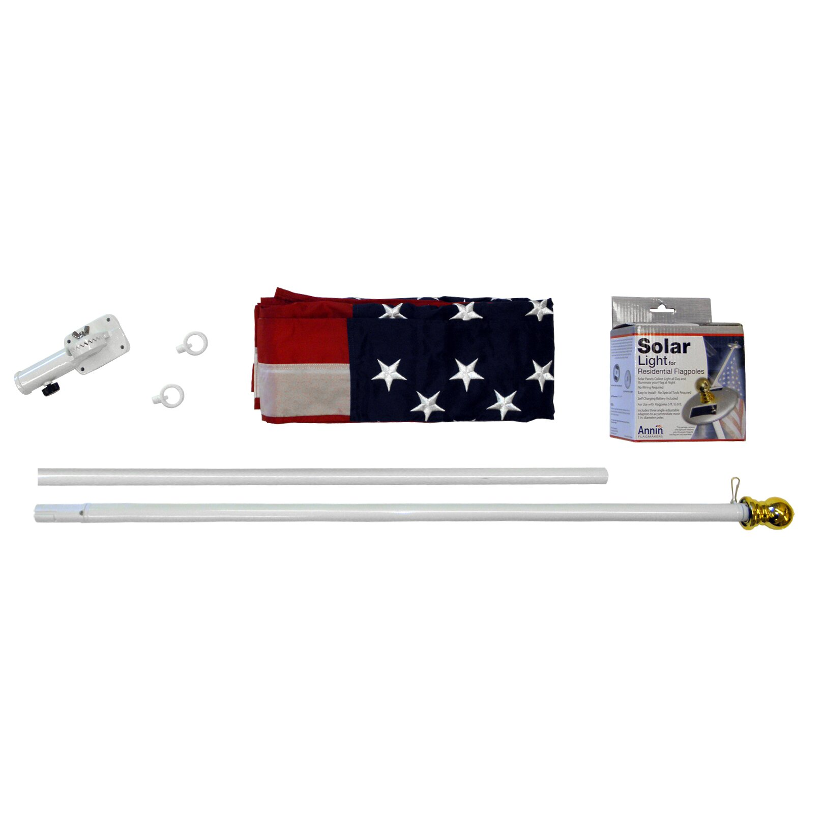 Next Deal Shop Solar Lights Reviews: Annin Flagmakers Spinning Flagpole With US Flag And Mini