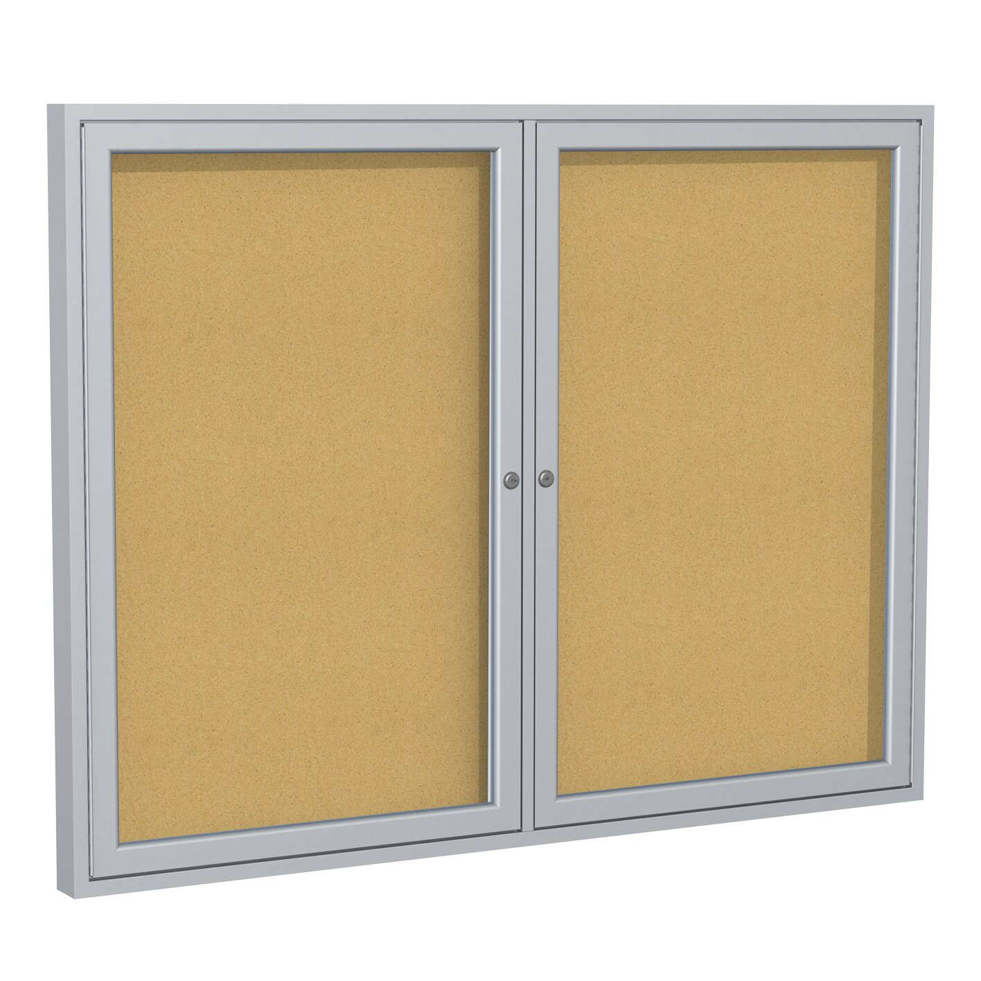 Ghent 2 Door Aluminum Frame Natural Cork Enclosed Bulletin