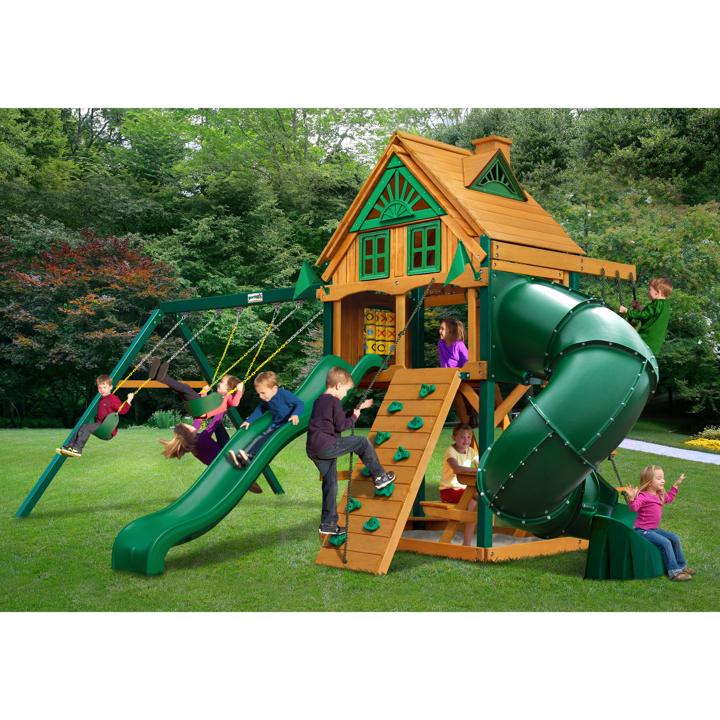 Gorilla playsets mountaineer treehouse swing set wayfair for Tree house swing set