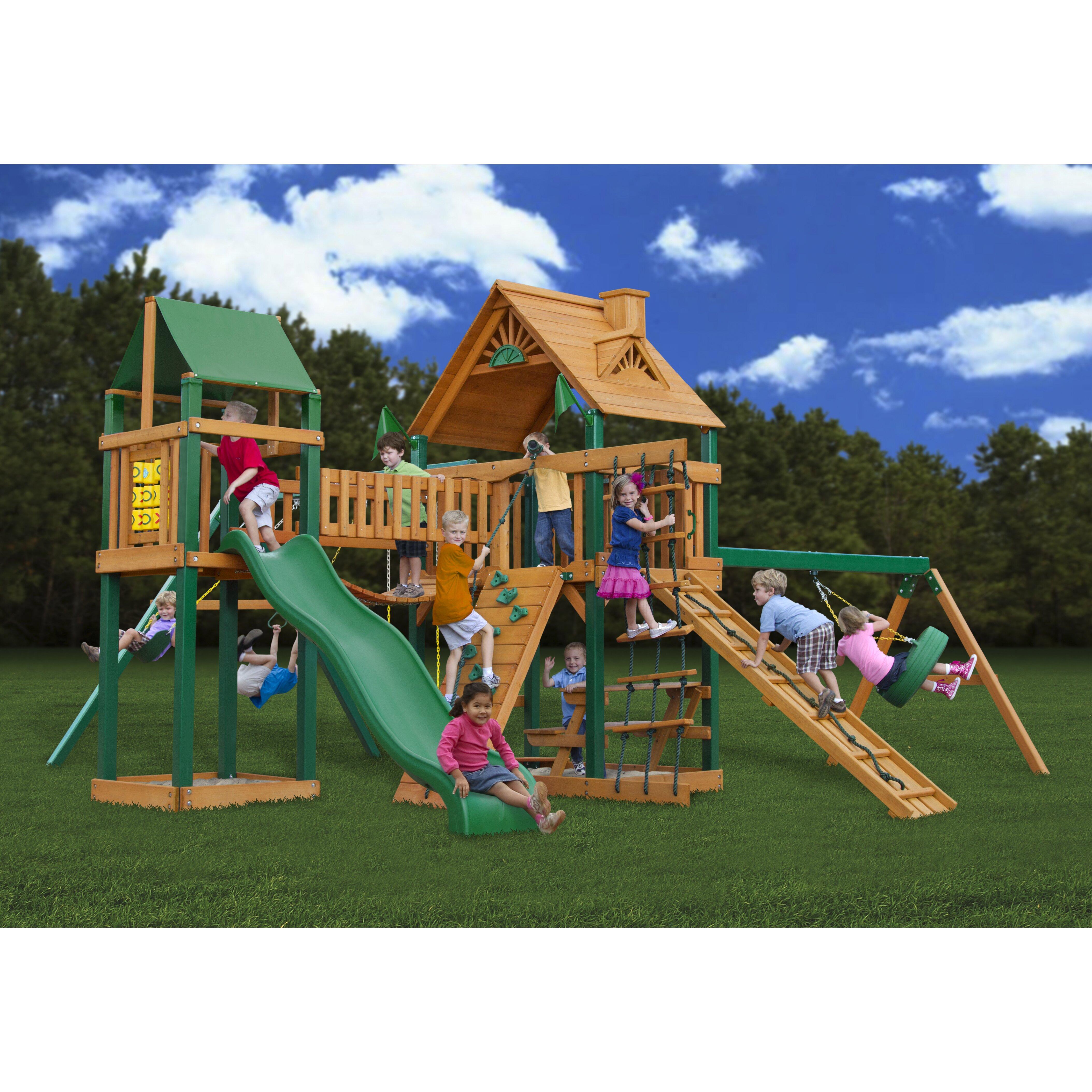 Gorilla Playsets Pioneer Peak With Amber Posts Cedar Swing