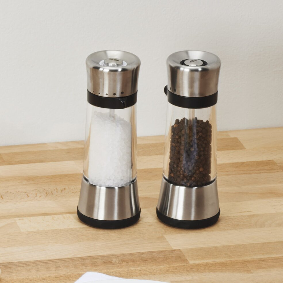 oxo good grips lua salt pepper mill set reviews wayfair. Black Bedroom Furniture Sets. Home Design Ideas