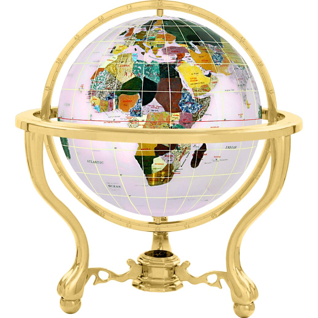 kalifano gemstone globe with opalite and