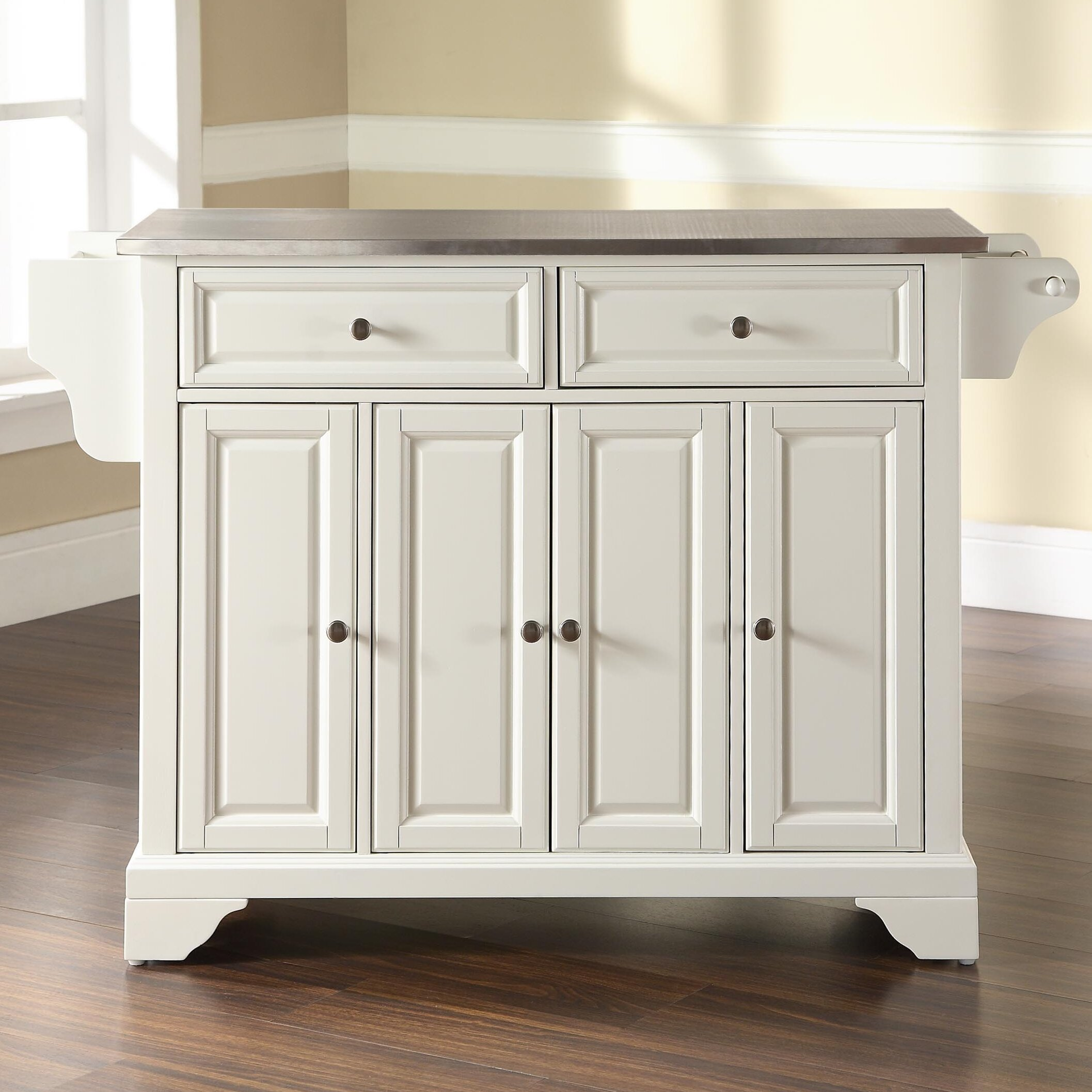 crosley lafayette kitchen island with stainless steel top stainless steel top kitchen island designcorner