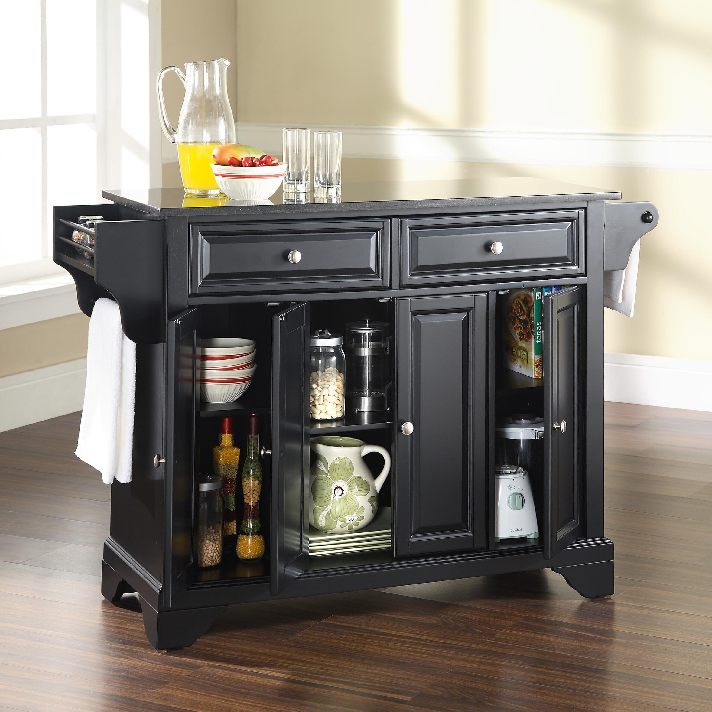 black granite kitchen island crosley lafayette kitchen island with solid black granite 16421