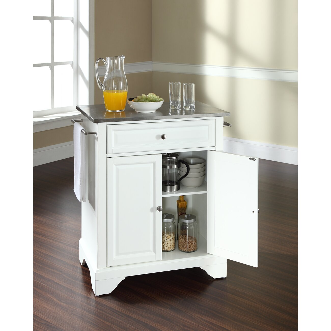 Crosley Lafayette Kitchen Cart With Stainless Steel Top Reviews Wayfair