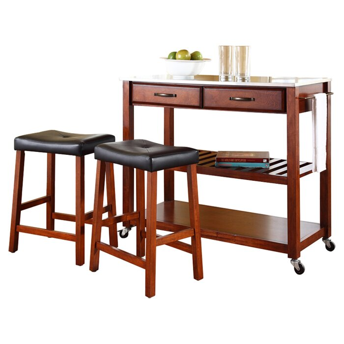 Crosley Kitchen Island Set with Stainless Steel Top & Reviews